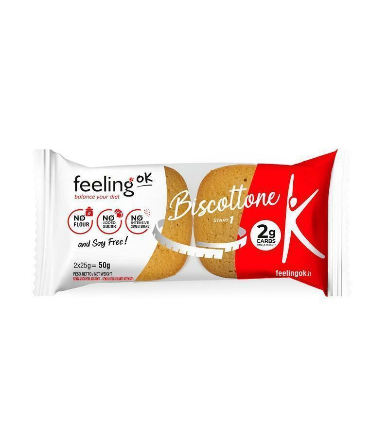 feeling ok feeling ok - biscottone gusto vanilla - lemon  2 g carbs - 2x25 g = 50 g
