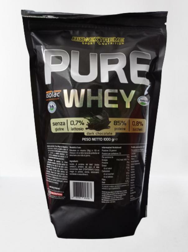 bio extreme pure whey - grass fed senza glutine - gusto dark chocolate - 1 kg