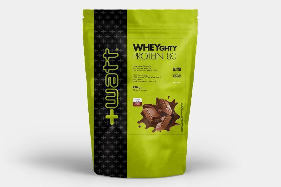 +watt nutrition +watt - wheyghty protein 80 - integratore di proteine del siero del latte e vitamine gusto cacao - 250g