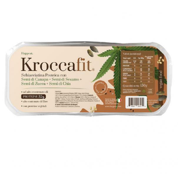 happeat kroccafit - schiacciatina proteica con semi di canapa, sesamo, zucca, chia - 150g