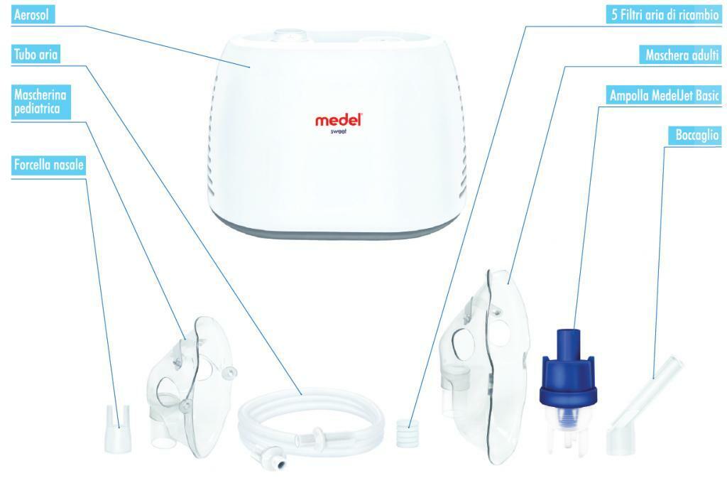 medel medel - sistema per aerosolterapia moderno e compatto + kit completo accessori in omaggio + 1 termometro digitale medel