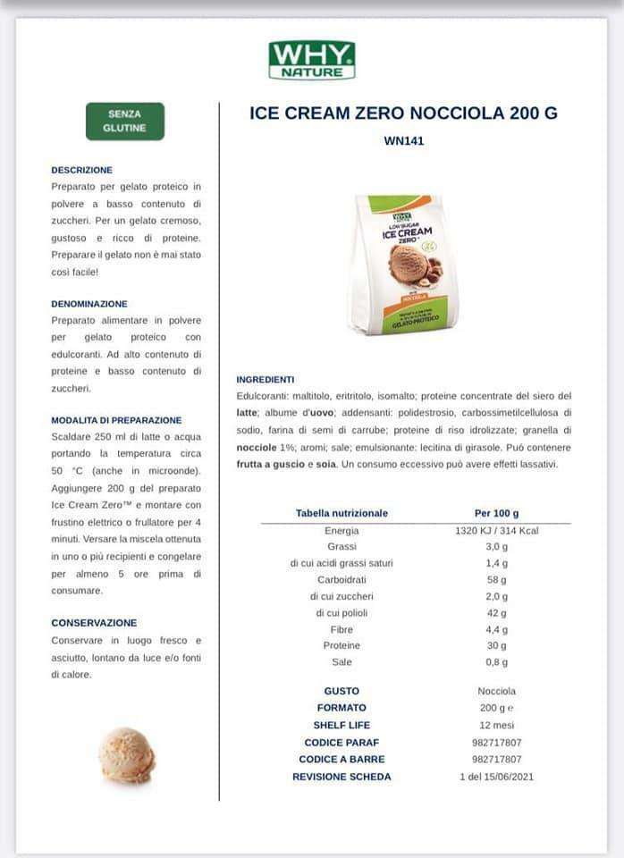 biovita group ice cream zero low sugar senza glutine gusto nocciola - 200g
