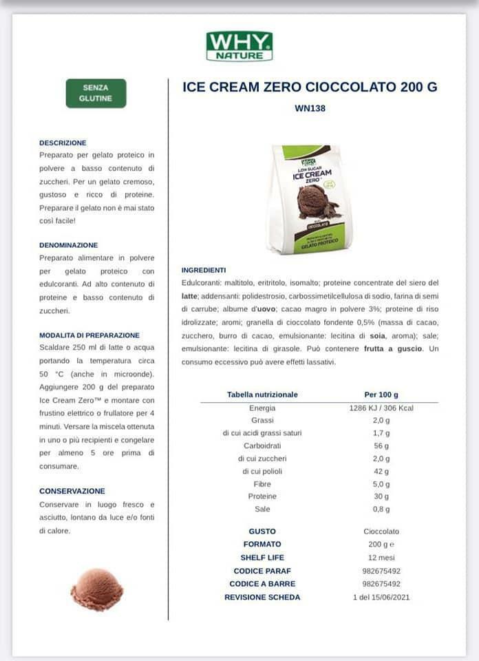biovita group ice cream zero low sugar senza glutine gusto cioccolato - 200g