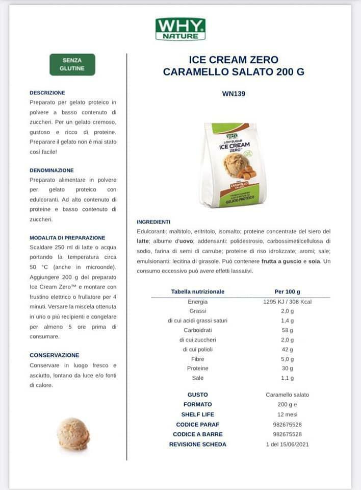 biovita group ice cream zero low sugar senza glutine gusto caramello salato - 200g