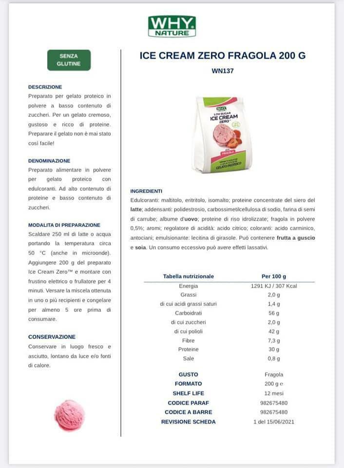 biovita group ice cream zero low sugar senza glutine gusto fragola - 200g