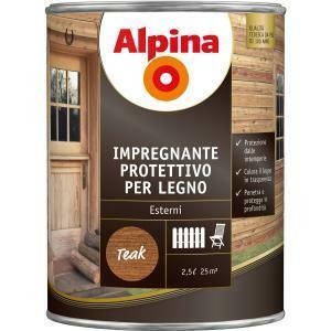 alpina alpina impregnante protettivo per legno incolore 0,75 litri per esterni