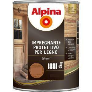 alpina impregnante protettivo per legno colore noce 0,75 litri
