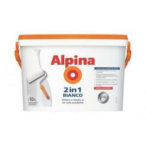 alpina pittura 2 in 1 bianco non necessita di fondo indicata per cartongesso e carta da parati 10 lt