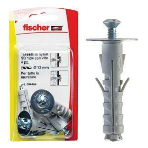 fischer fischer tassello in nylon con vite sb 12/4 blister 4 pezzi