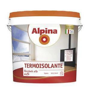 alpina alpina termoisolante 4 litri  idropittura speciale per interni, traspirante, per la riduzione dei fenomeni di  condensa superficiale nelle zone fredde degli ambienti.