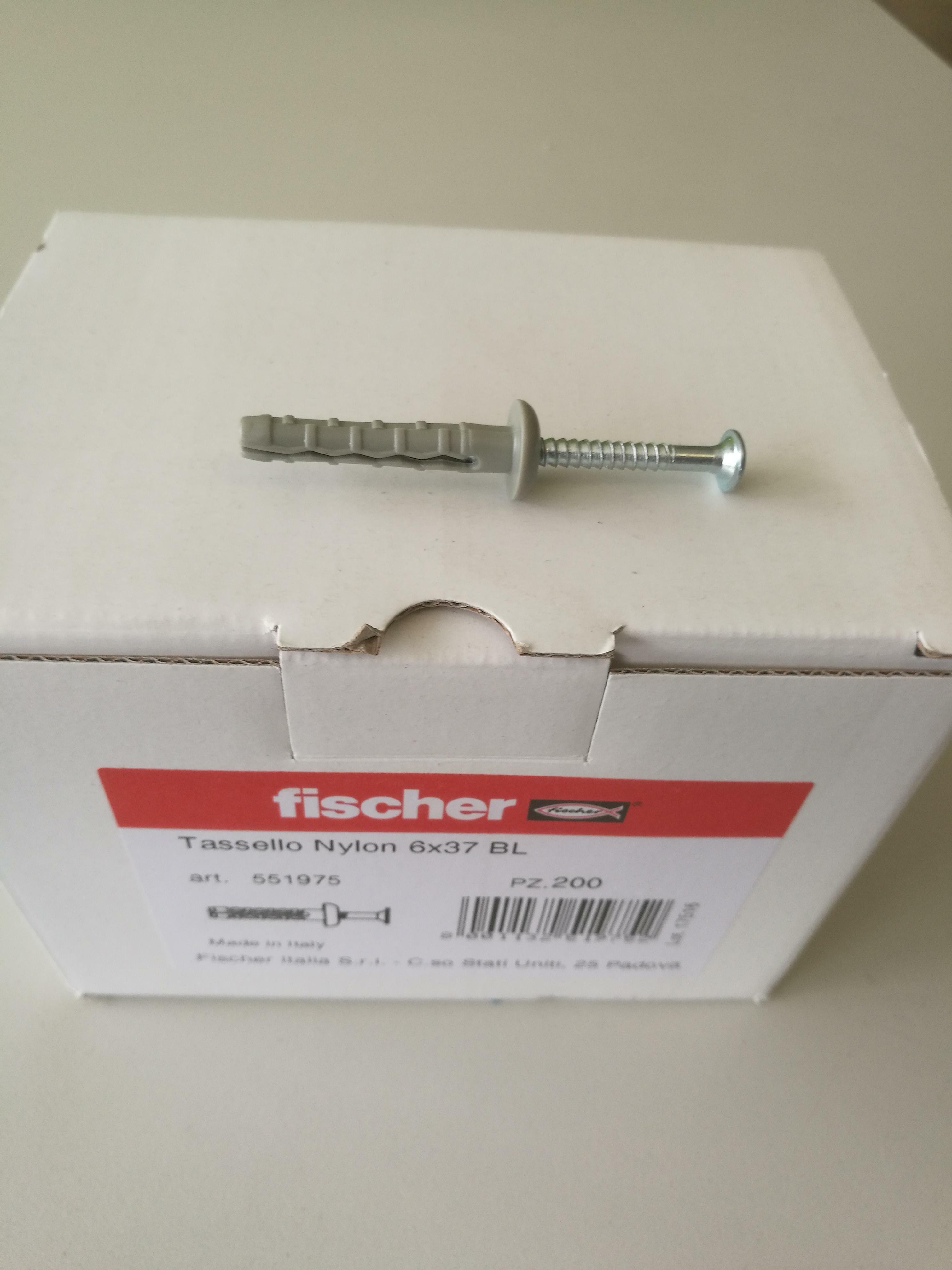 fischer fischer tassello nylon 6x37 a battuta confezione da 200 pz