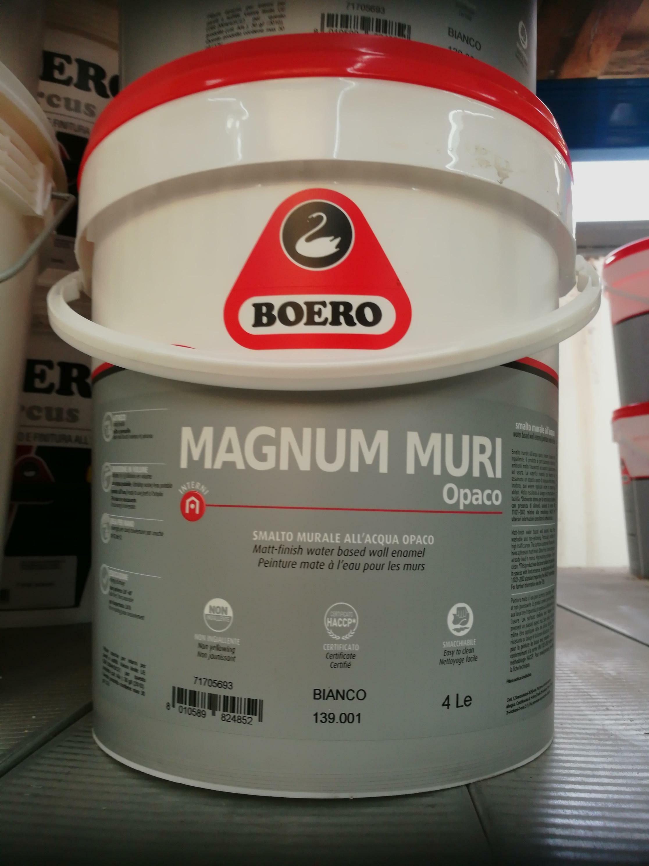 boero boero magnum per muri opaco bianco 4 litri smalto opaco per muri all'acqua idoneo per ambienti con metodologia haccp