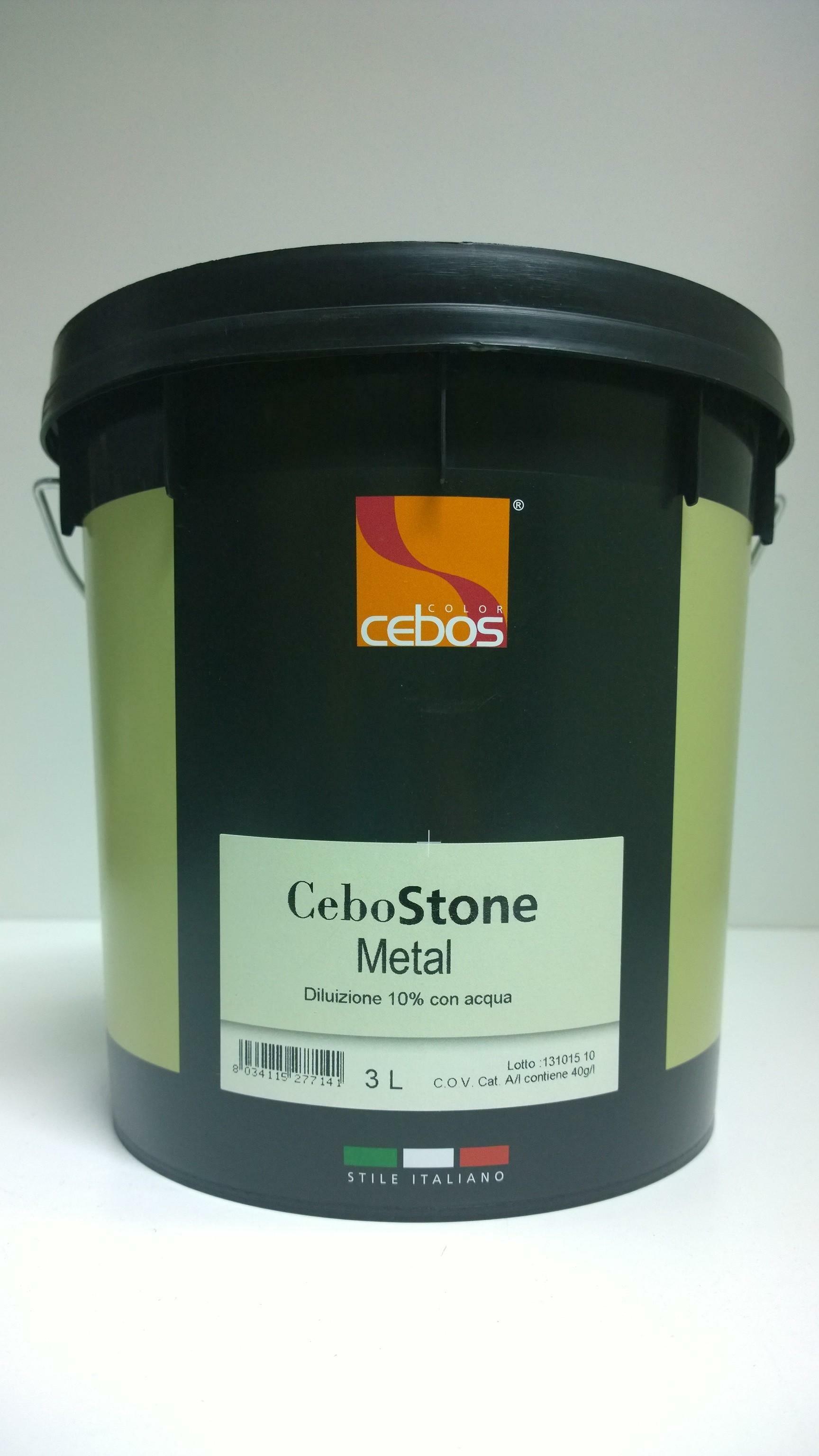 cebos cebos - cebostone metal 3 lt finitura decorativa per interni dall'aspetto sabbiato e colore metallico