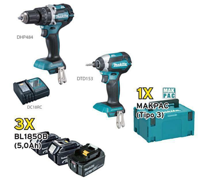 makita makita kit dlx 2180tj1 composto da un avvitatore dhp484 + un avvitatore a massa battente dtd153 + una valigetta macpac + 3 batterie 5 ah