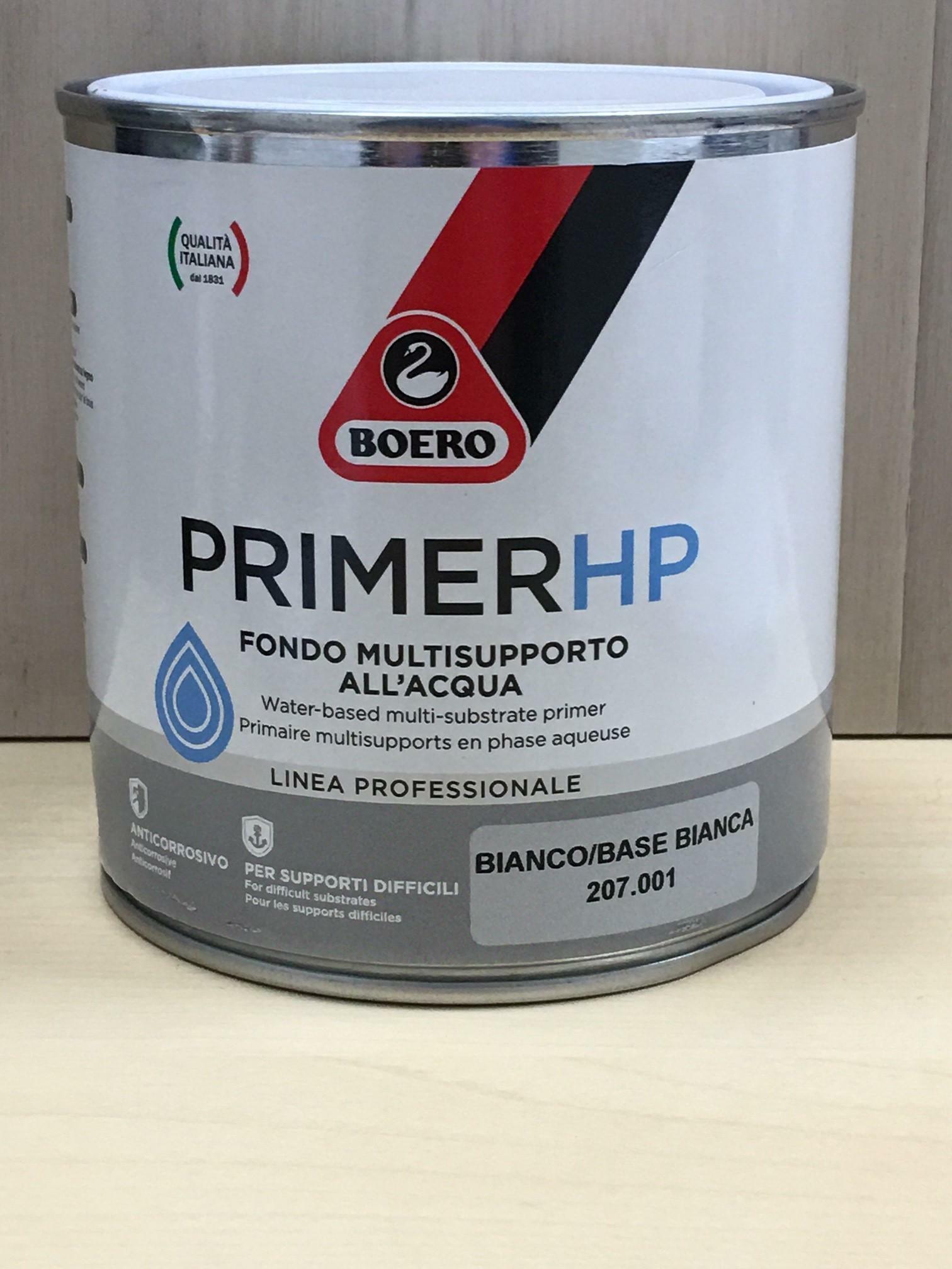 boero primer hp bianco 0,50 lt fondo multi supporto all'acqua per smalti all'acqua