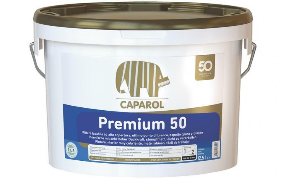 caparol caparol pittura lavabile premium 50 12,5 lt priva di solventi e plastificanti, antigoccia