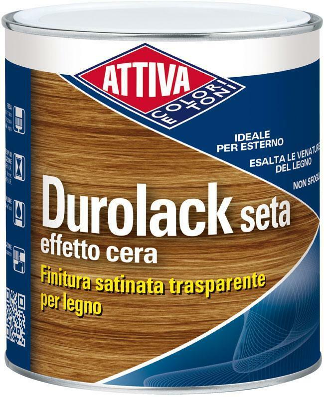attiva durolack seta finitura satinata per legno effetto cera colore castagno 5 lt da interno e esterno