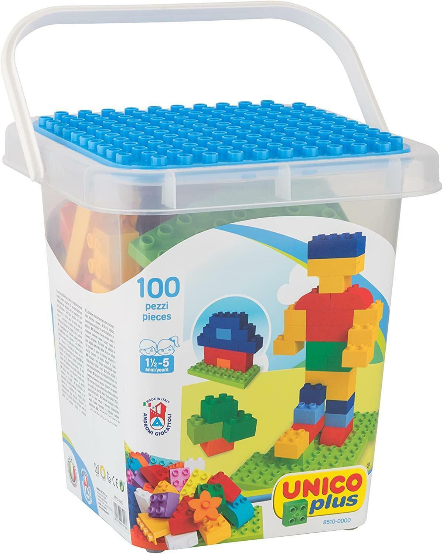 androni giocattoli androni giocattoli unico plus secchiello mattoncini colorati 100 pz