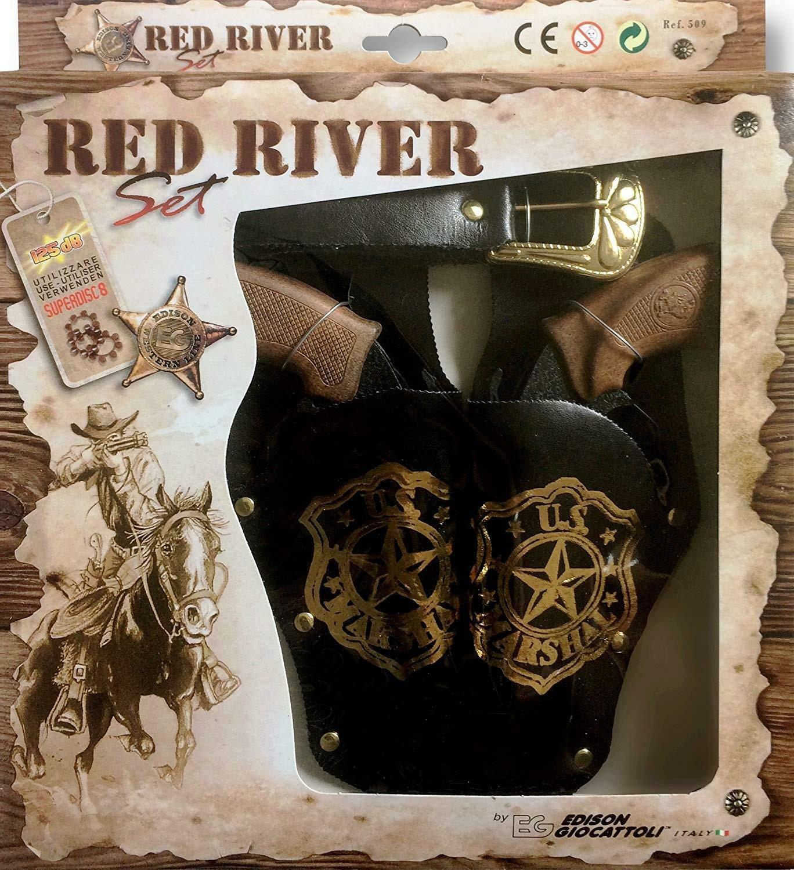 edison giocattoli edison giocattoli set red river - cinturone con 2 fondine + 2 pistole 125db