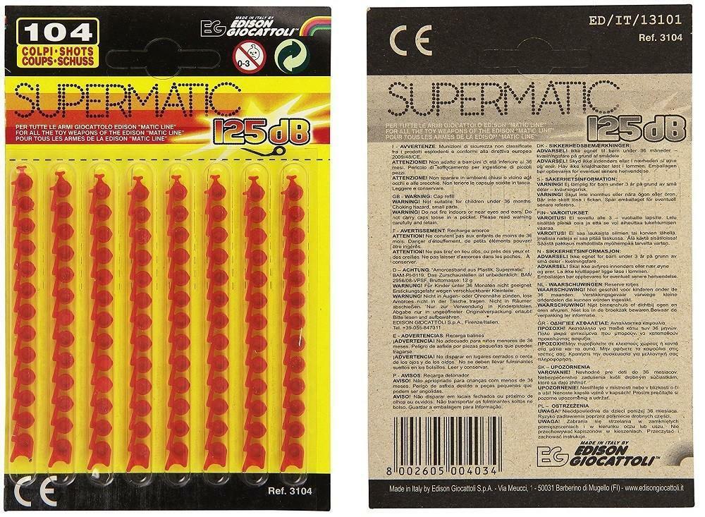 edison giocattoli edison giocattoli supermatic 8 strisce da 13 colpi 125db