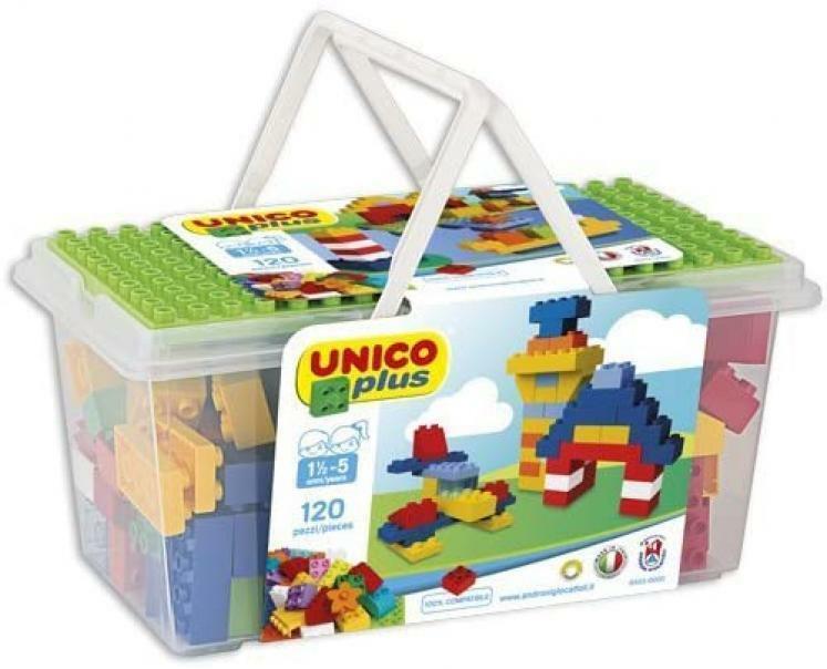 androni giocattoli androni giocattoli unico plus cesto mattoncini colorati 120 pz