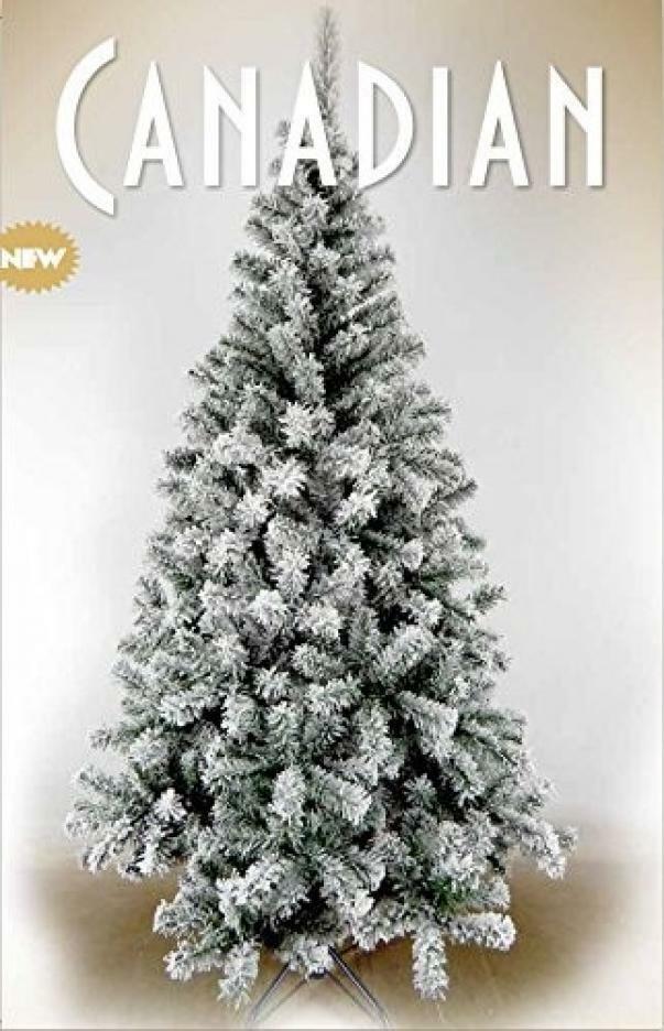 giocoplast giocoplast albero di natale canadian - verde innevato, 180 cm, 520 rami, base in ferro