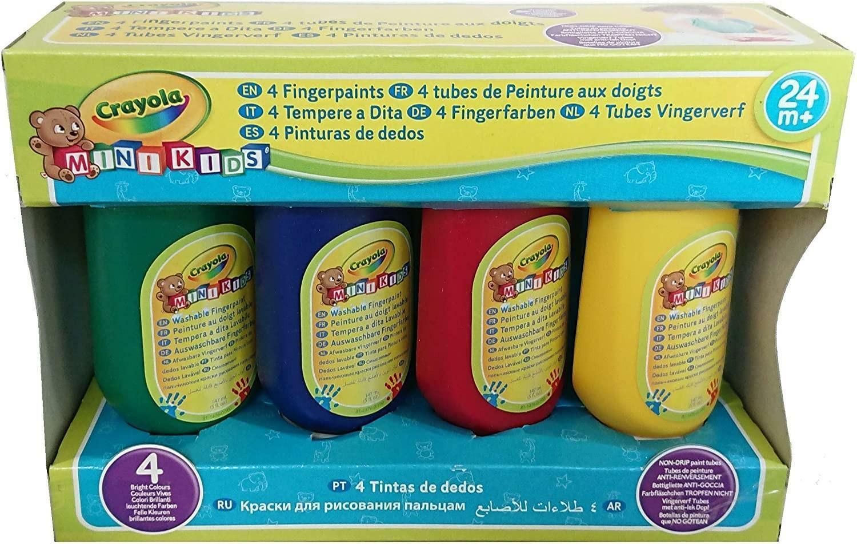 crayola set tempere a dita 4 tubetti