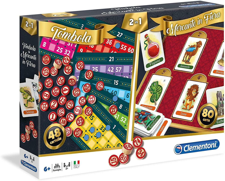 clementoni 2 in 1 gioco mercante in fiera & tombola 16555