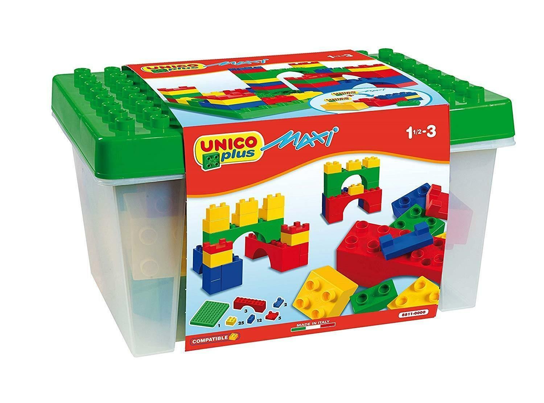 androni giocattoli androni giocattoli unico plus maxi cesto mattoncini colorati 48 pz