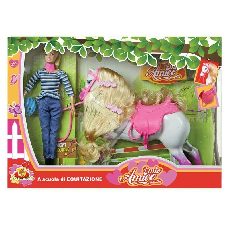 decar2 decar2 amico cavallo - bambola a scuola di equitazione