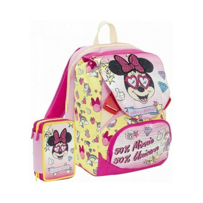 seven seven schoolpack minnie zaino estensibile + astuccio 3 zip