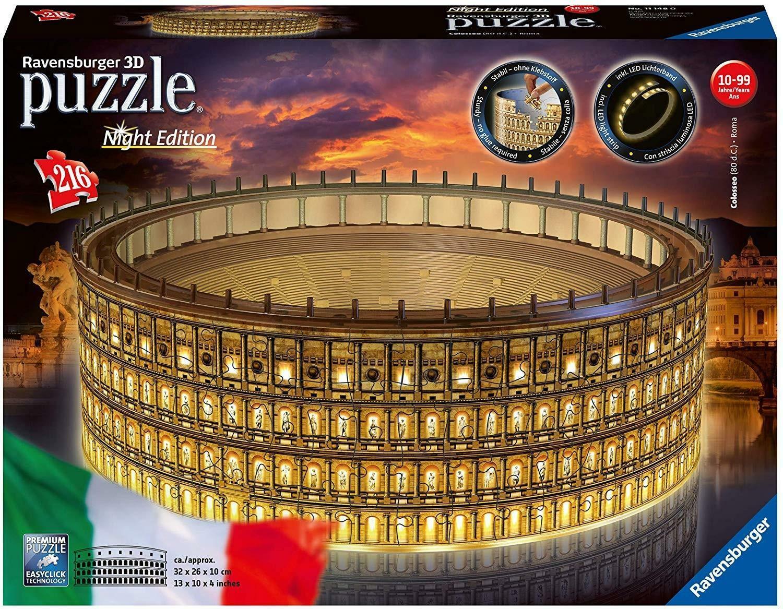ravensburger ravensburger 3d night edition puzzle 216 pz - colosseo