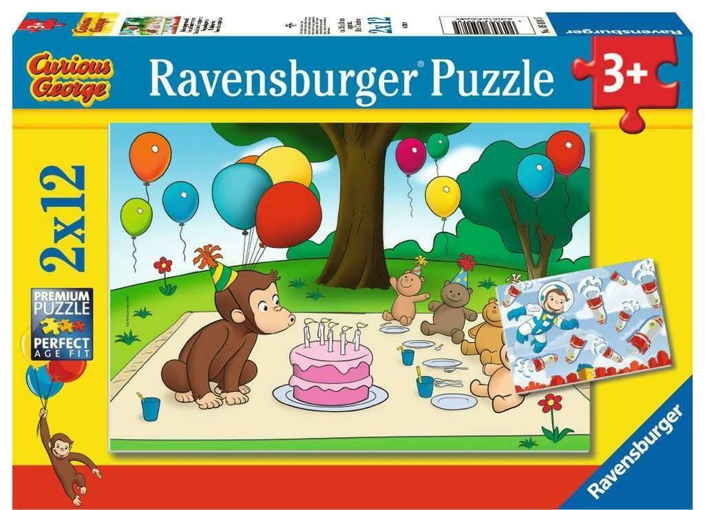ravensburger ravensburger puzzle 2x12 pz curious george