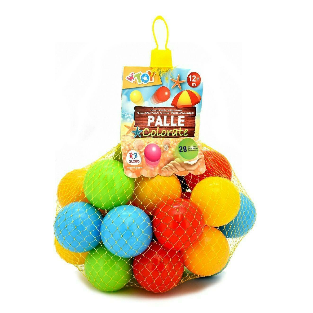 globo globo rete 28 palline colorate 7 cm