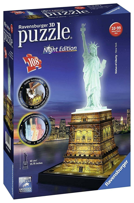 ravensburger 3d night edition puzzle 108 pz - statua della libertr