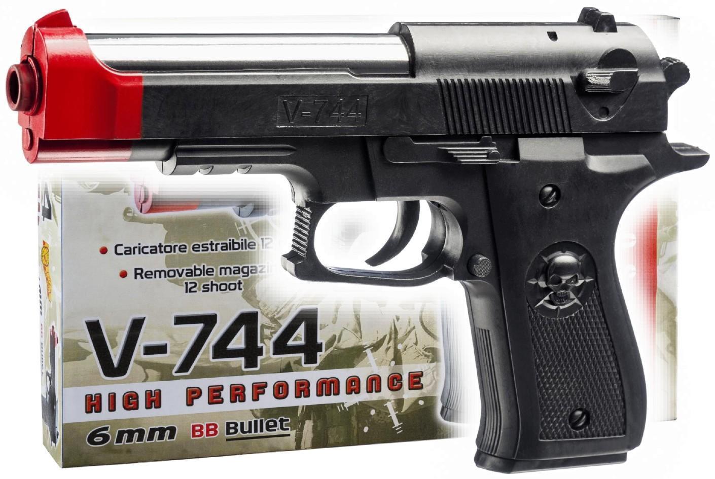 villa giocattoli villa giocattoli air soft pistola v-744 cal. 6 mm