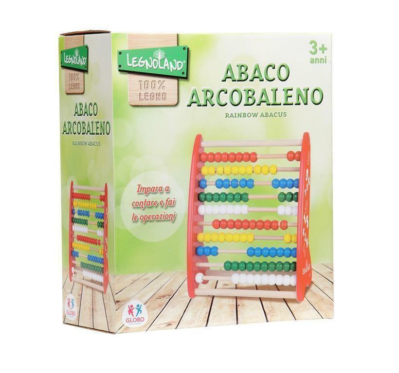 globo globo legnoland wooden rainbow abacus abaco con 100 perline