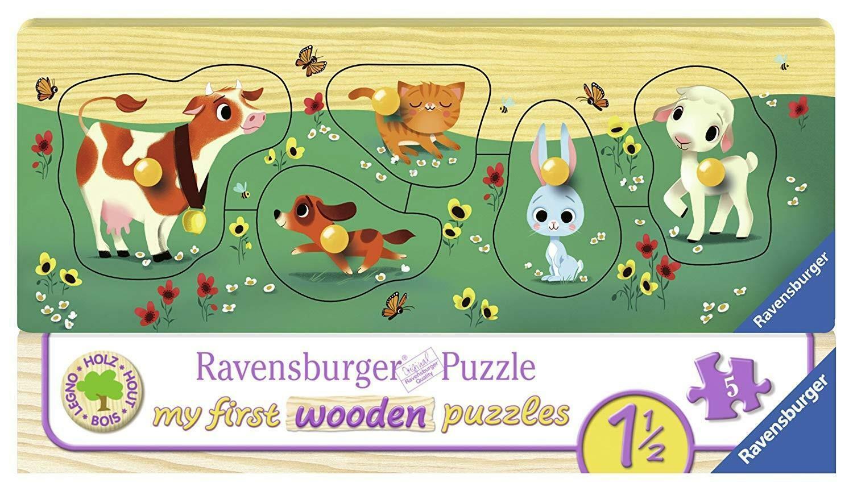 ravensburger ravensburger puzzle in legno 5 pz - i miei amici animali