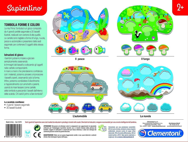 clementoni sapientino - tombola forme e colori 16170