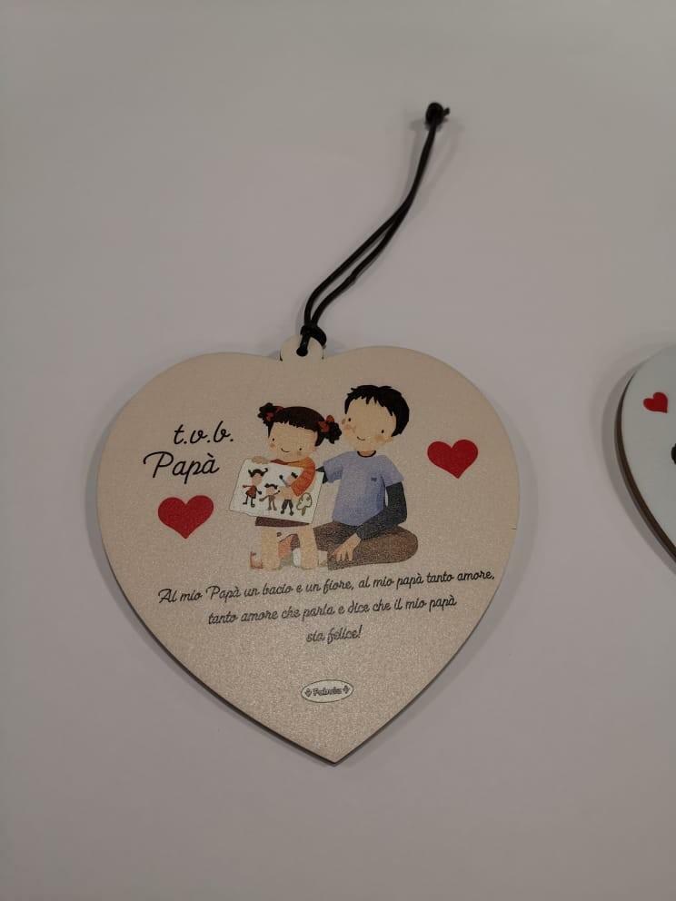 giocattoli targa cuore festa del papà in legno cm 14