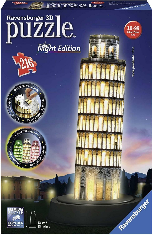 ravensburger ravensburger 3d night edition puzzle 216 pz - torre di pisa