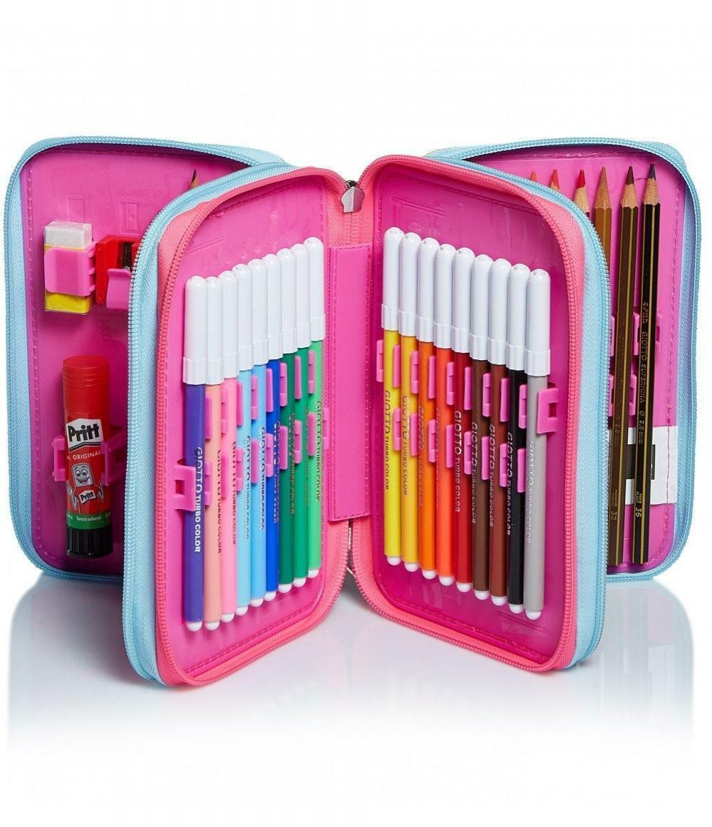 seven seven astuccio triplo completo pen pad sj facce girl