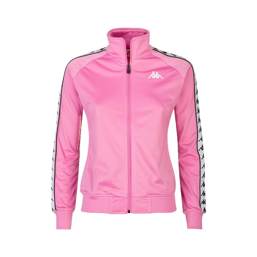 kappa felpa c/zip kappa donna rosa bianco 301psc0