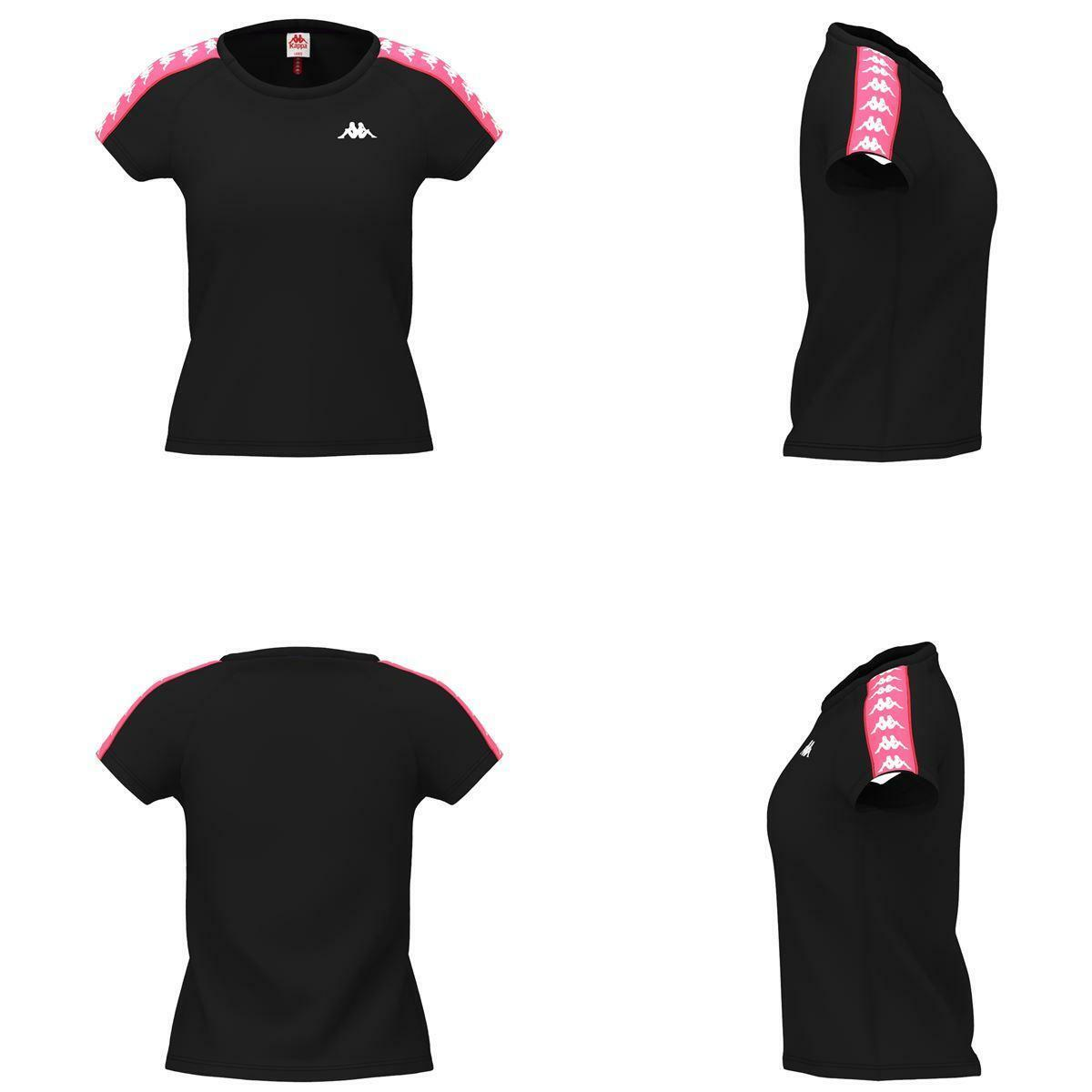 kappa kappa t-shirt donna nero fragola 303h1u0