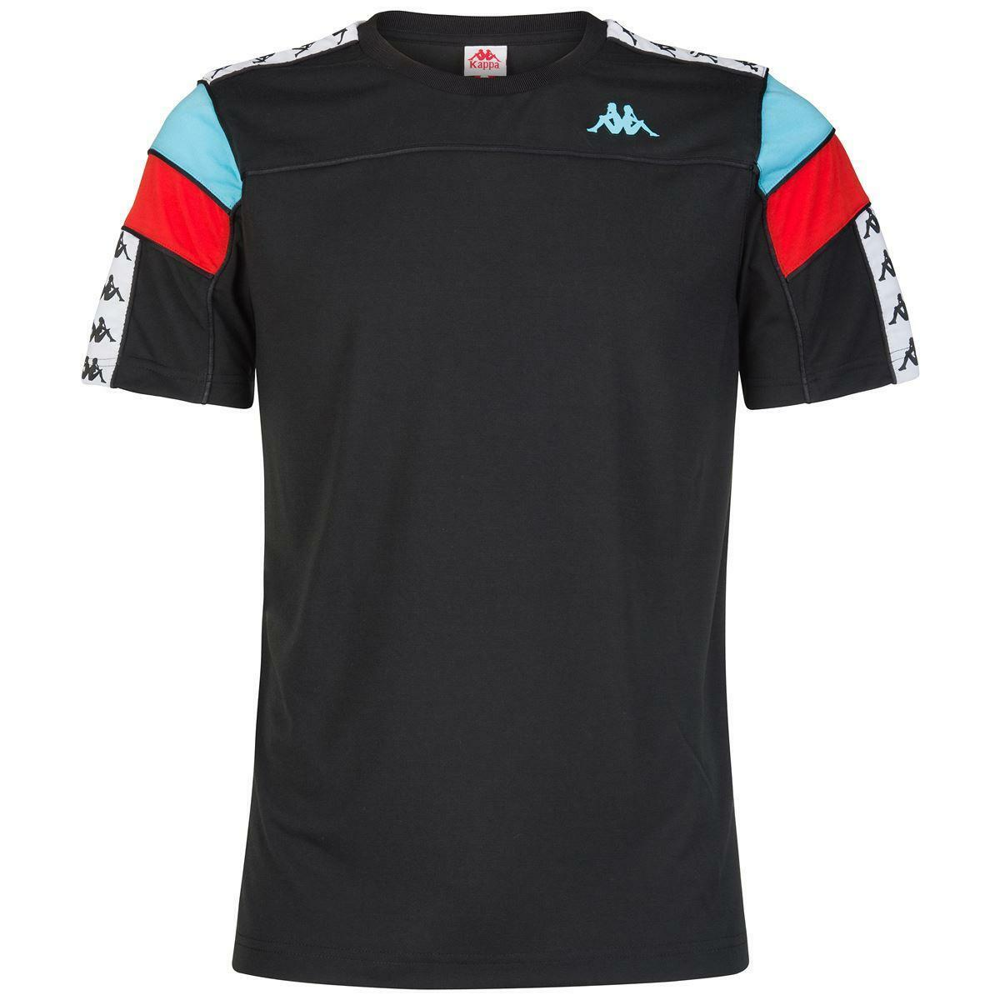 kappa kappa t-shirt junior nero azzurro rosso 303wbs0