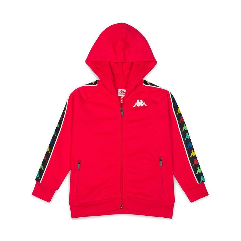 kappa kappa felpa zip con cappuccio rosso bianco 34124ww