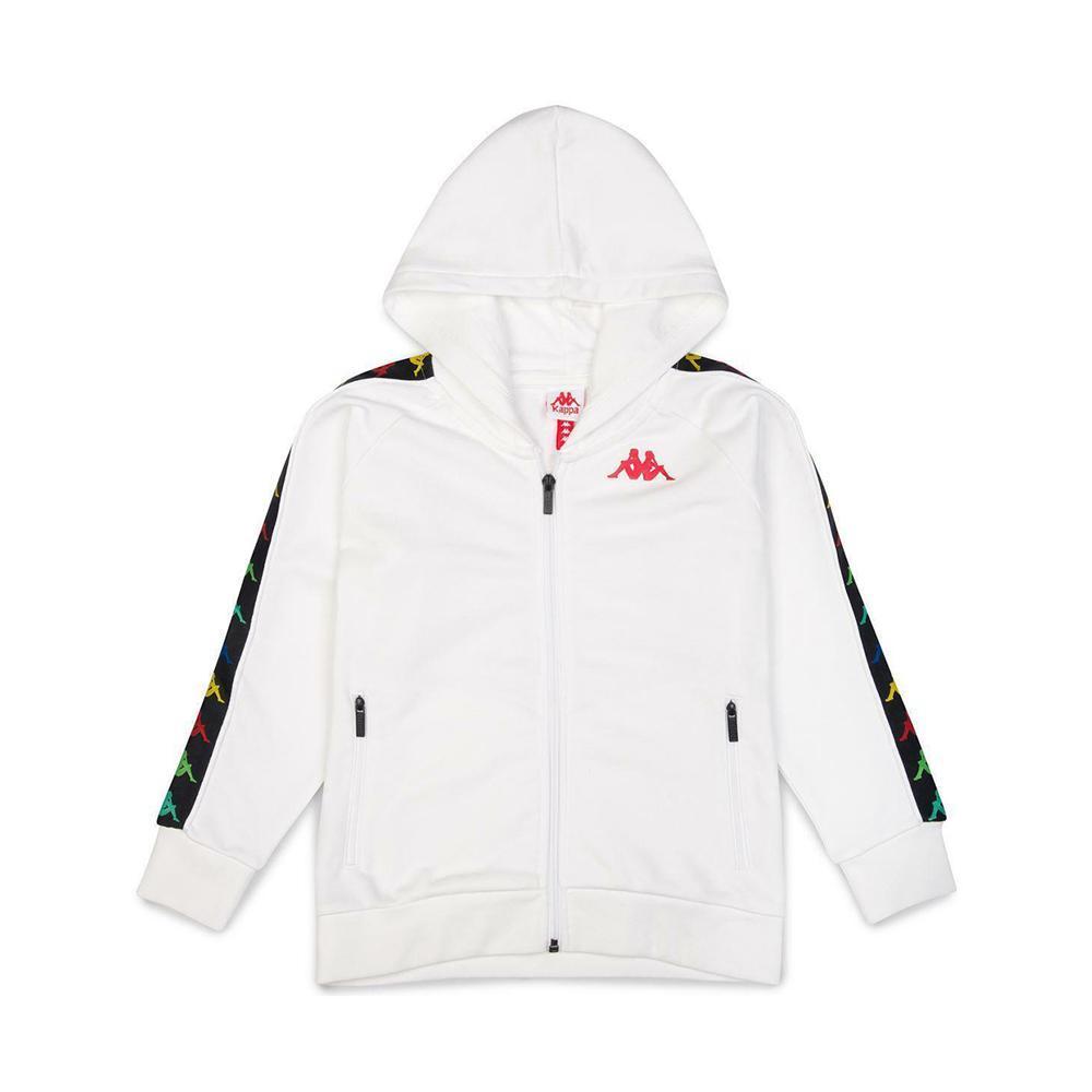 kappa kappa felpa zip con cappuccio bianco rosso 34124ww