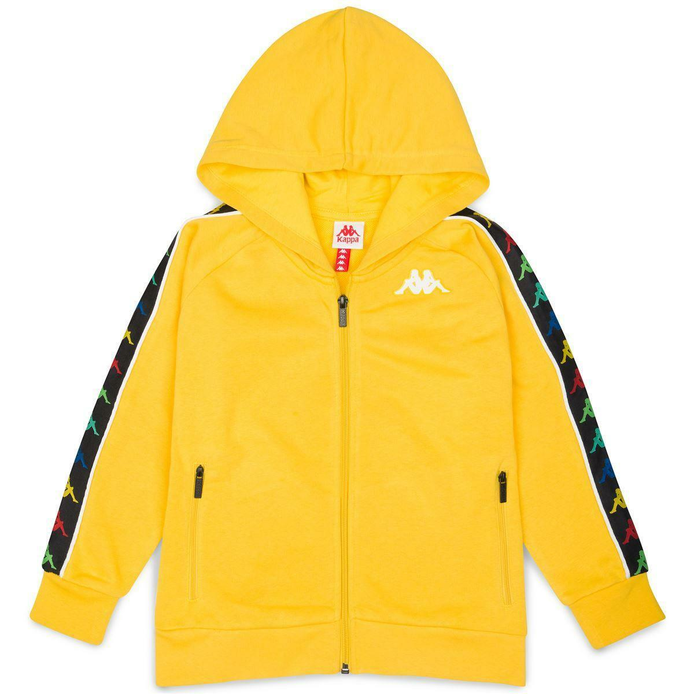 kappa kappa felpa zip con cappuccio giallo bianco 34124ww