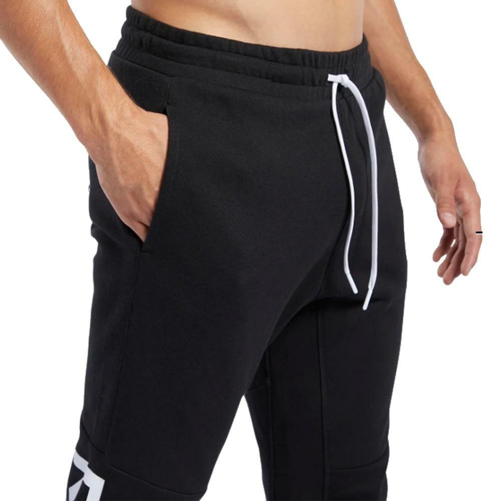 reebok reebok pantalone uomo nero bianco fk6140