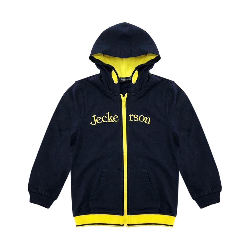 jeckerson jeckerson felpa zip con cappuccio bambino blu giallo jb1711